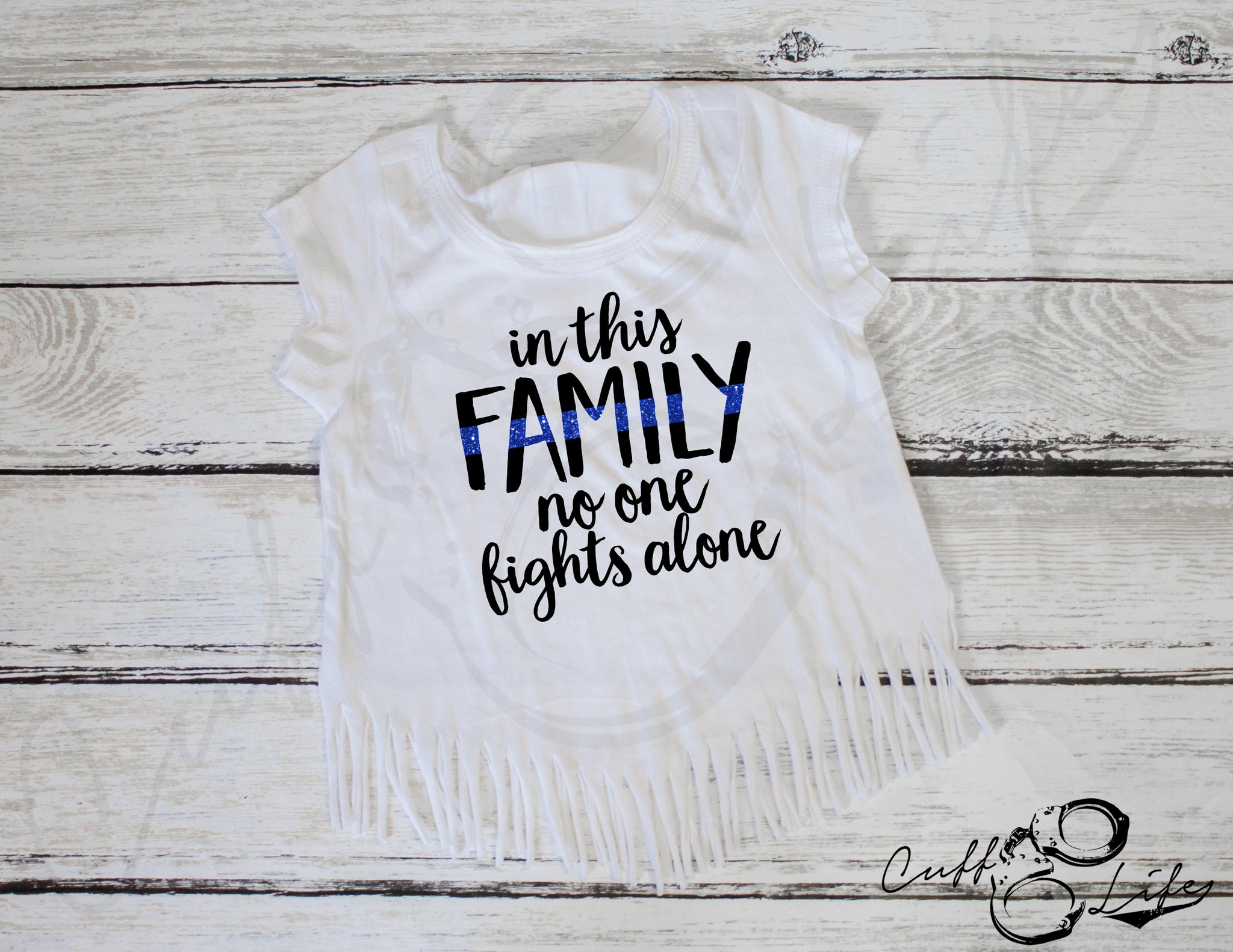 In This Family No One Fights Alone © - Fringe Tee