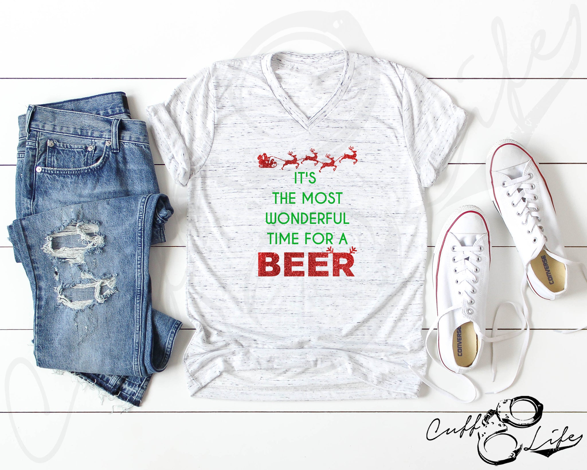 It's The Most Wonderful Time For A Beer © - Boyfriend Fit V-Neck Tee