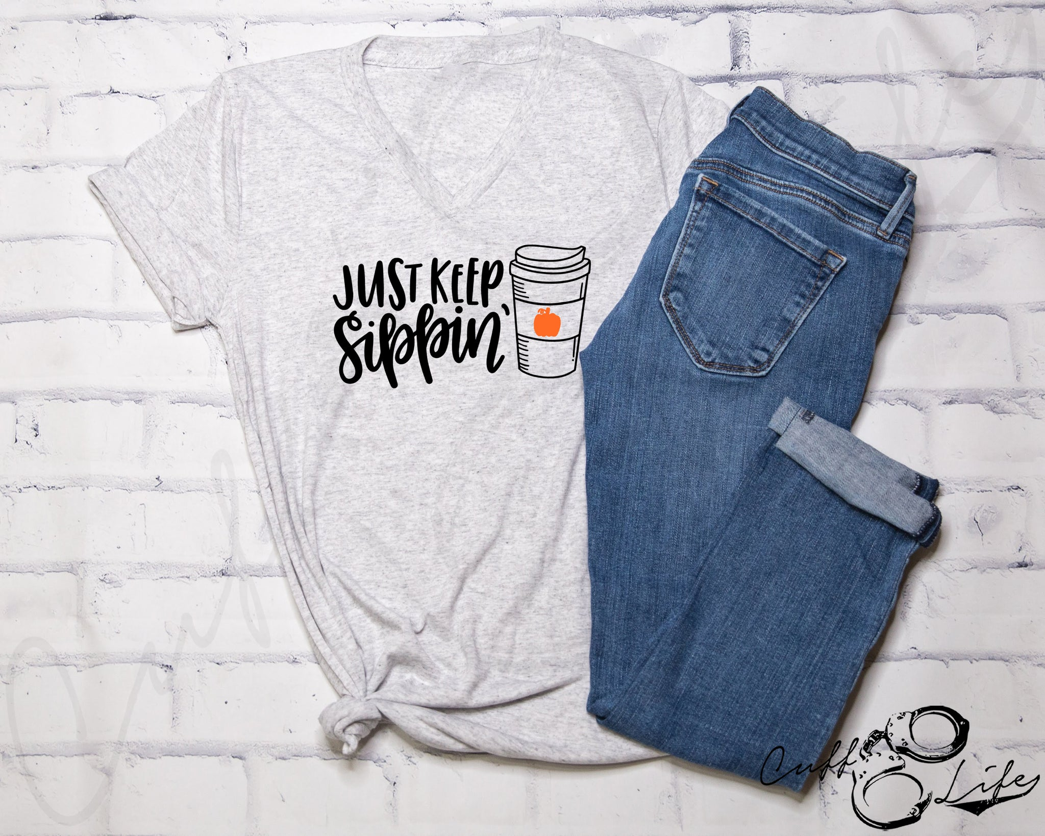 Just Keep Sippin' - Boyfriend Fit V-Neck Tee
