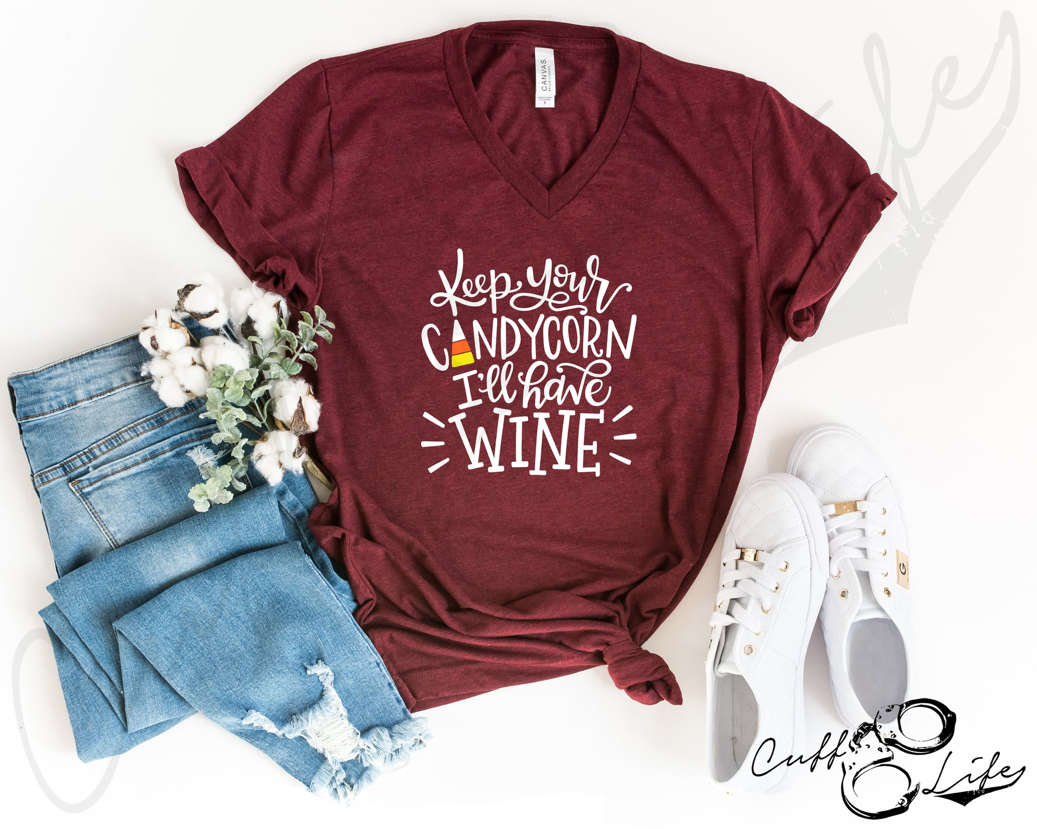 Keep Your Candy Corn, I'll Have Wine - Boyfriend Fit V-Neck Tee