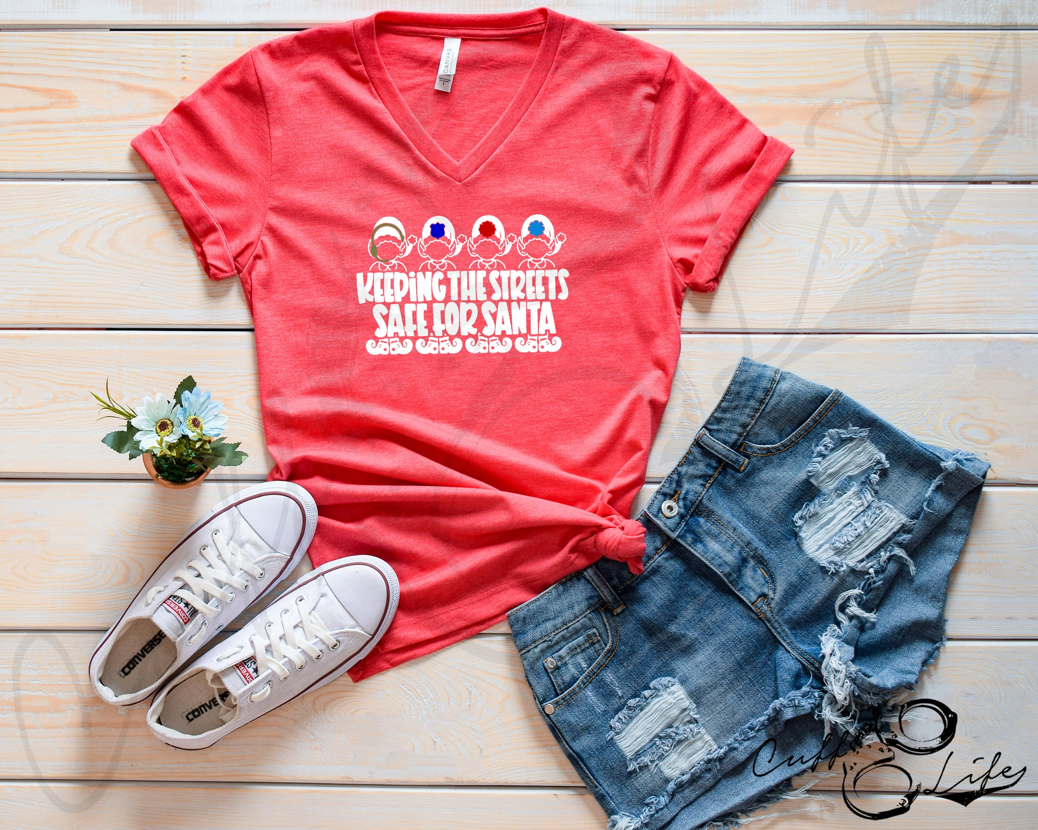 Keeping the Streets Safe for Santa © - Boyfriend Fit V-Neck Tee
