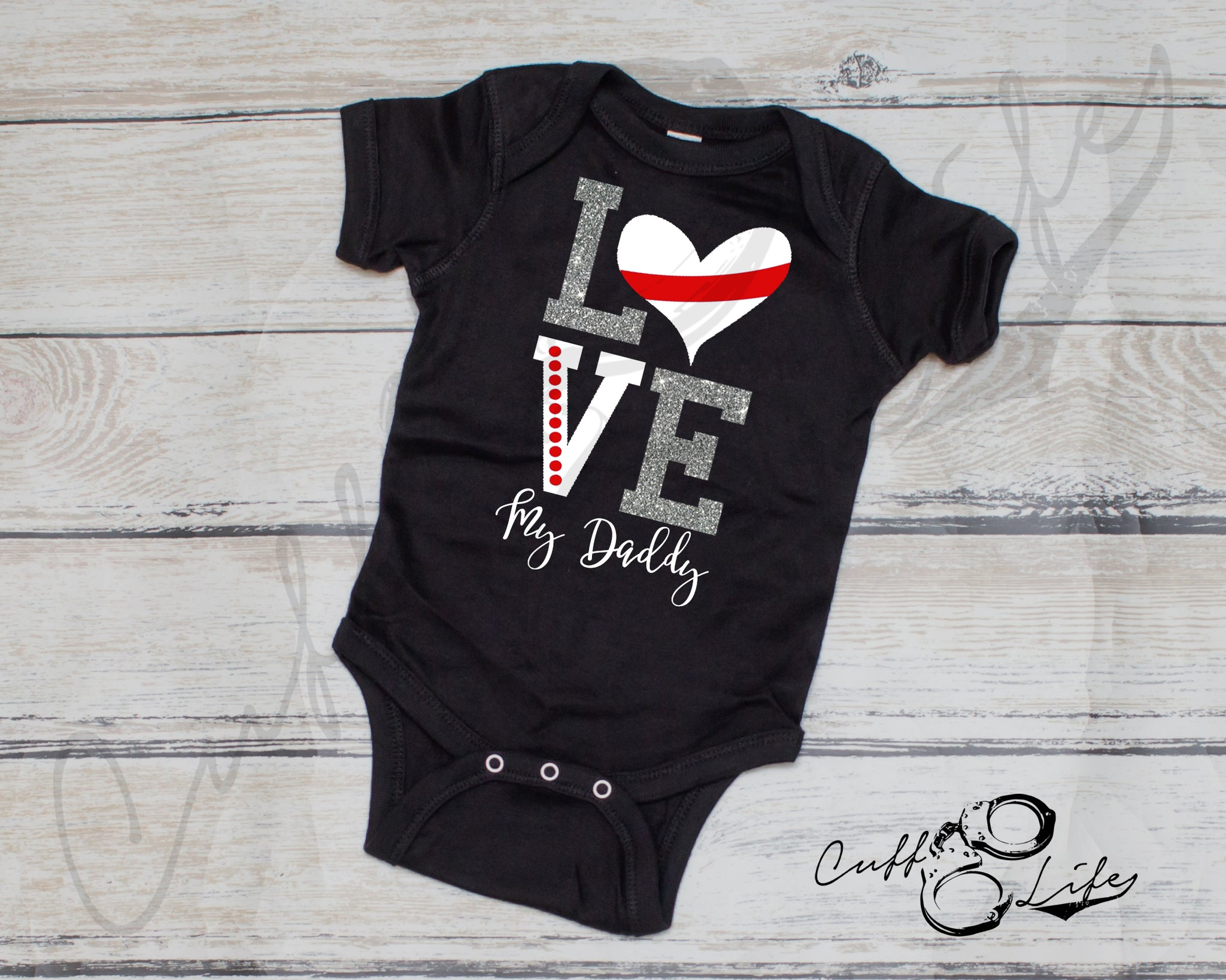 LOVE My Daddy - Thin Red Line - Infant Bodysuit
