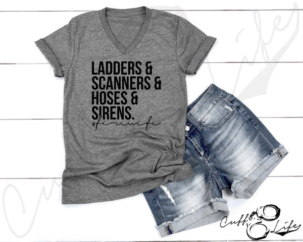 Ladders Scanners Hoses & Sirens - FIRE WIFE - Boyfriend Fit V-Neck Tee