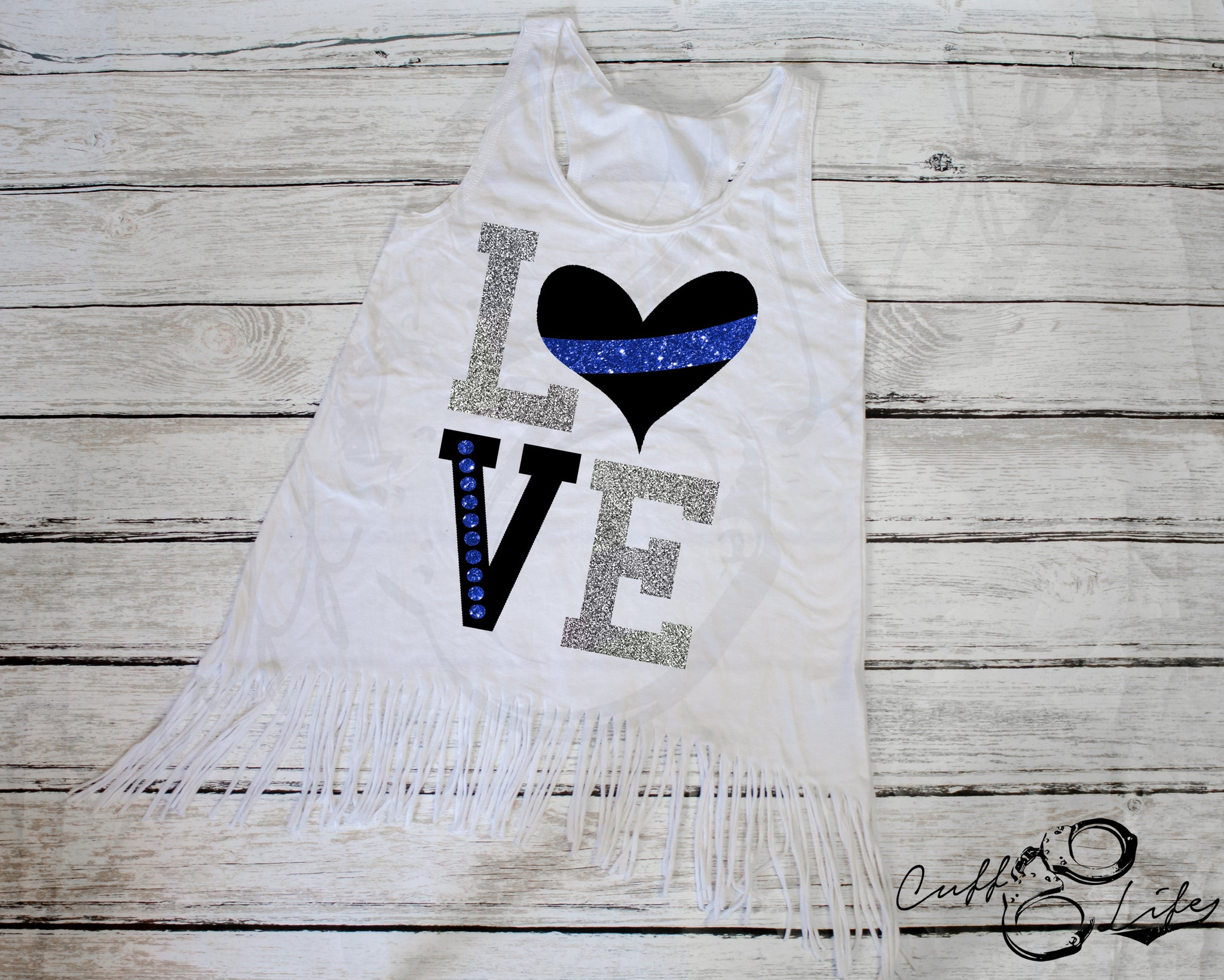 LOVE Thin Blue Line - Fringe Tank