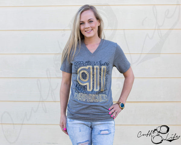911 Dispatcher - Boyfriend Fit V-Neck Tee
