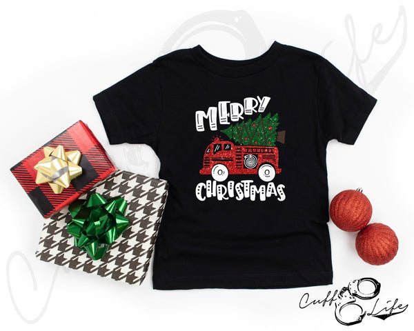 Merry Christmas Fire Truck - Toddler/Youth T-Shirt