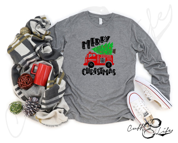Merry Christmas Fire Truck - Long Sleeve Tee