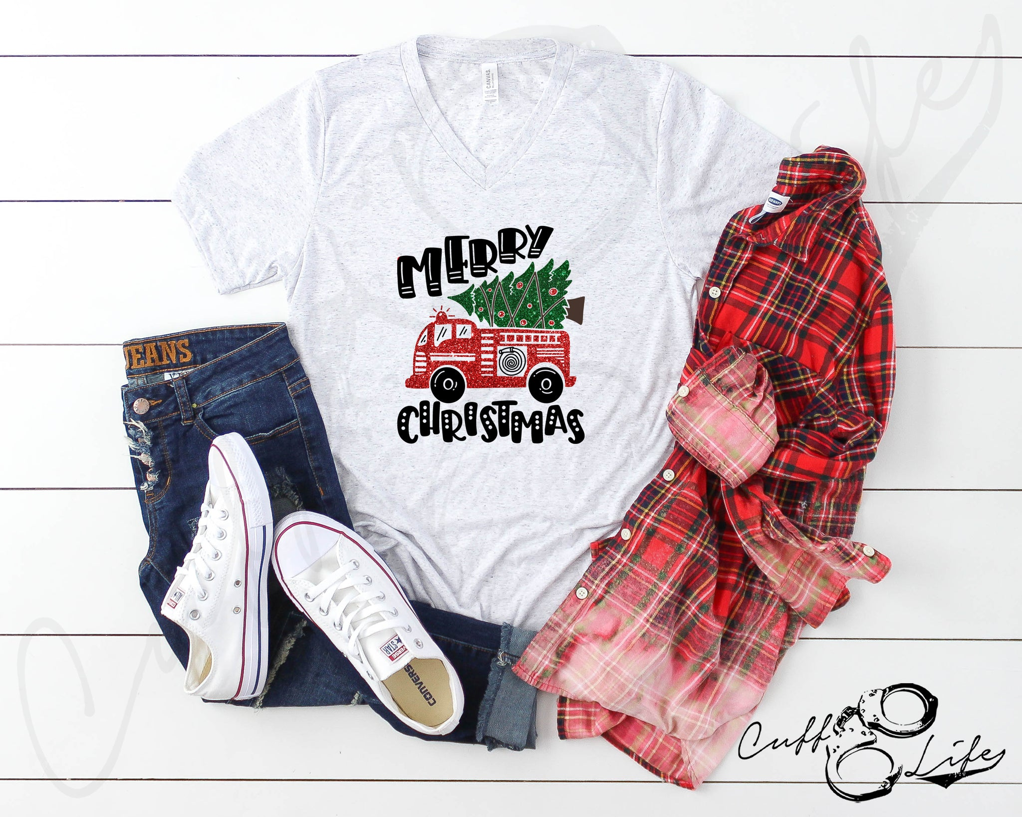 Merry Christmas Fire Truck - Boyfriend Fit V-Neck Tee