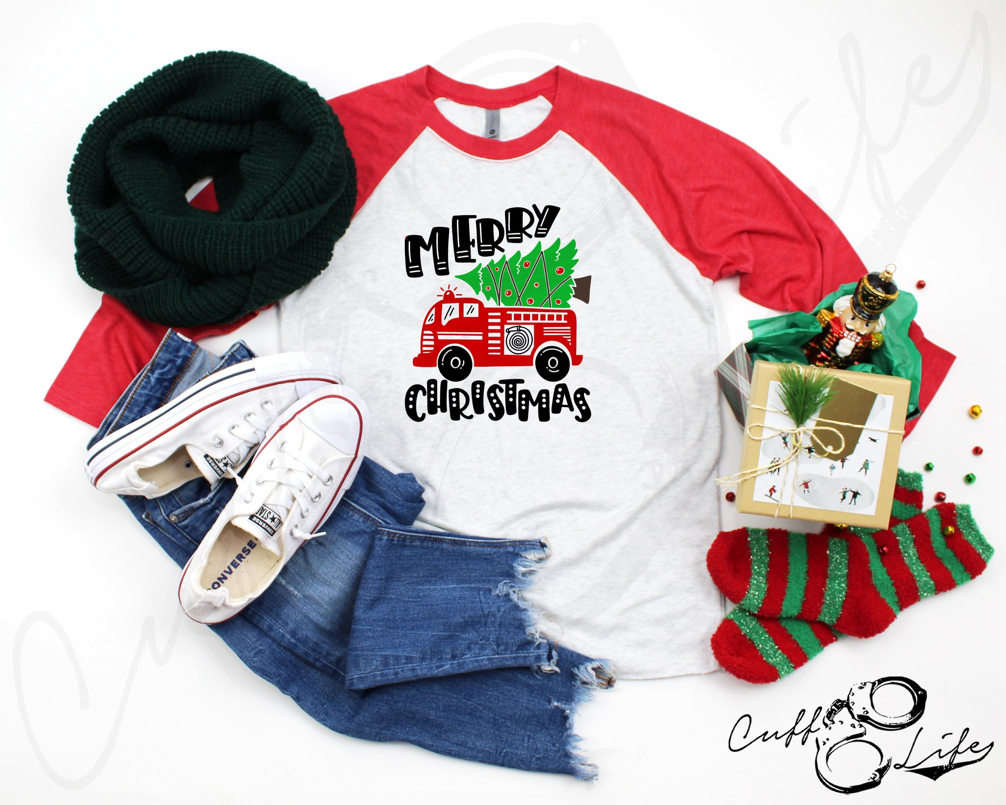 Merry Christmas Fire Truck - 3/4 Sleeve Raglan