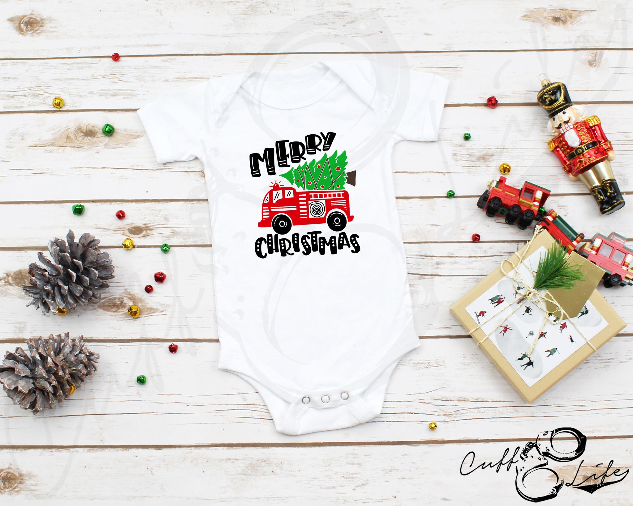 Merry Christmas Fire Truck - Infant Bodysuit