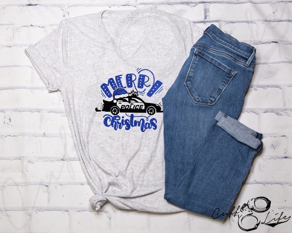 Merry Christmas Police Car - Boyfriend Fit V-Neck Tee