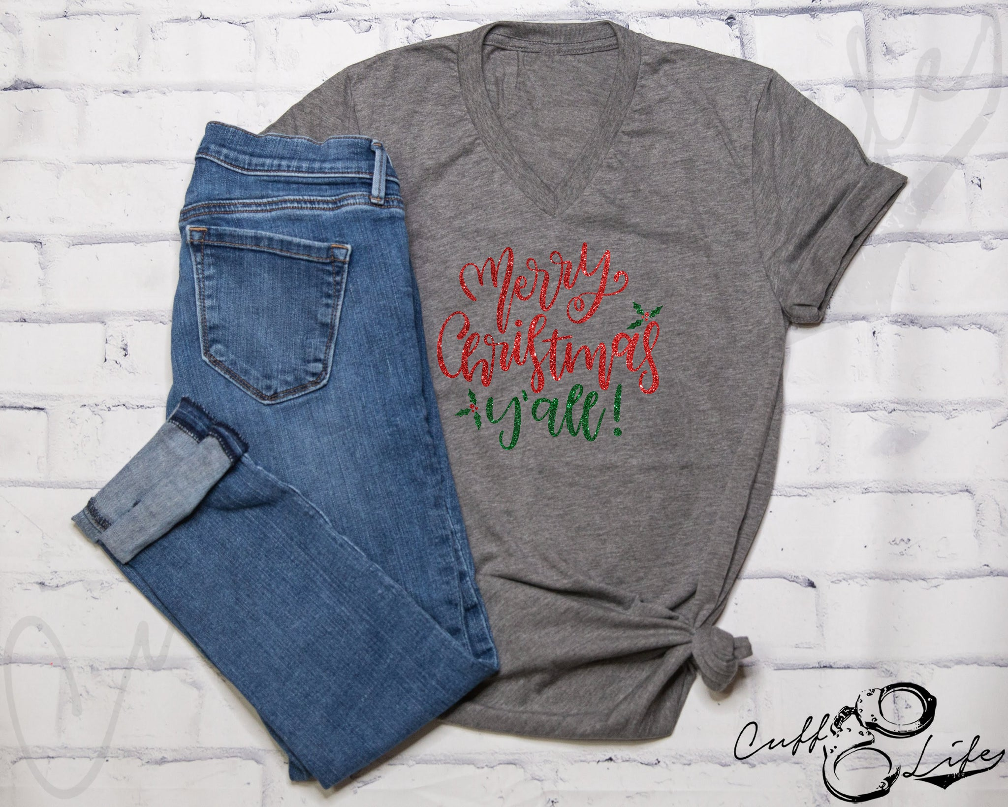 Merry Christmas Y'all - Boyfriend Fit V-Neck Tee