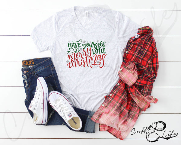 Merry Little Christmas - Boyfriend Fit V-Neck Tee
