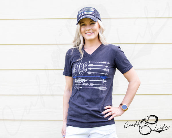 Monogram Thin Blue Line Arrow Flag - Boyfriend Fit V-Neck Tee
