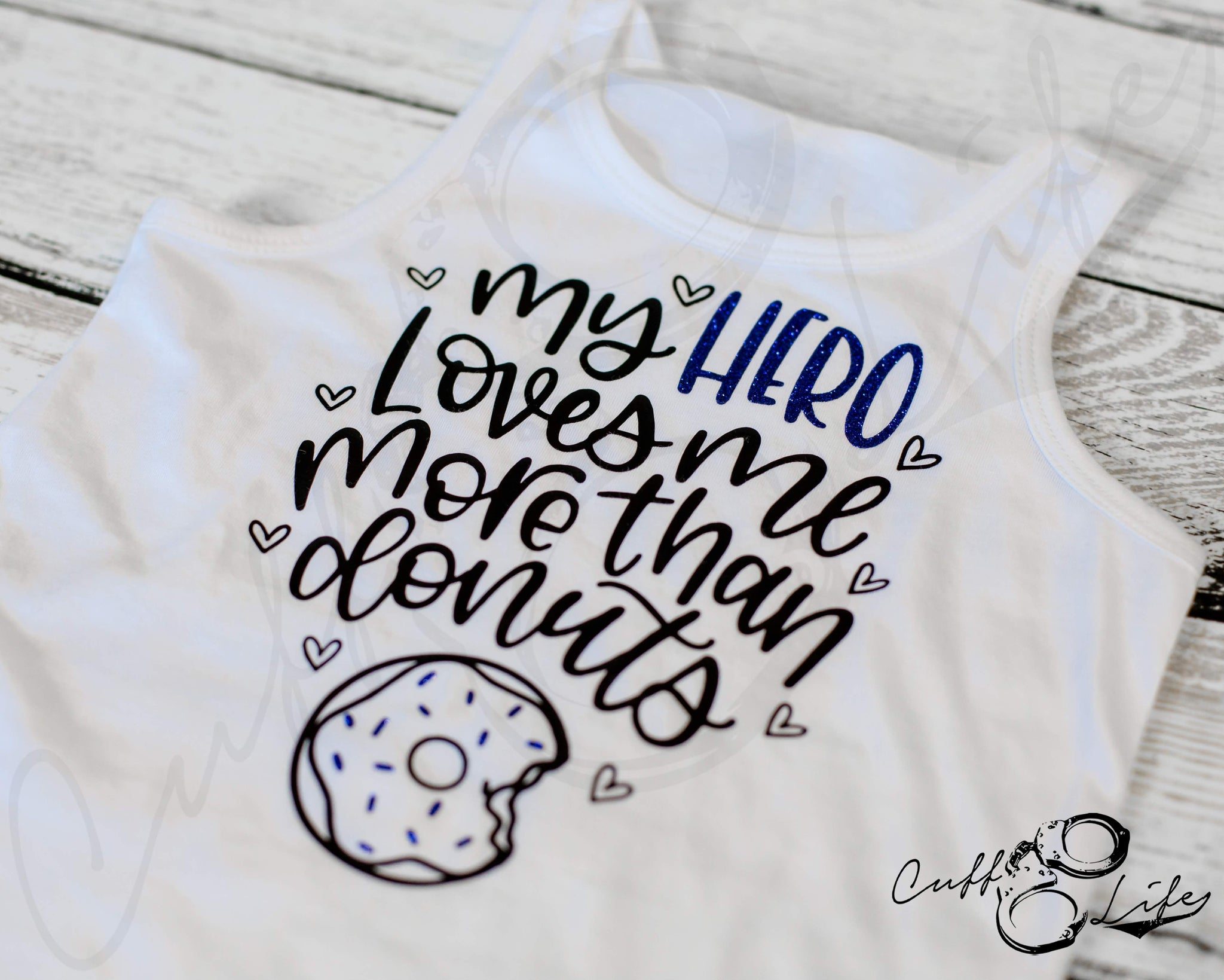 My Hero Loves Me More Than Donuts © -  Tank Top