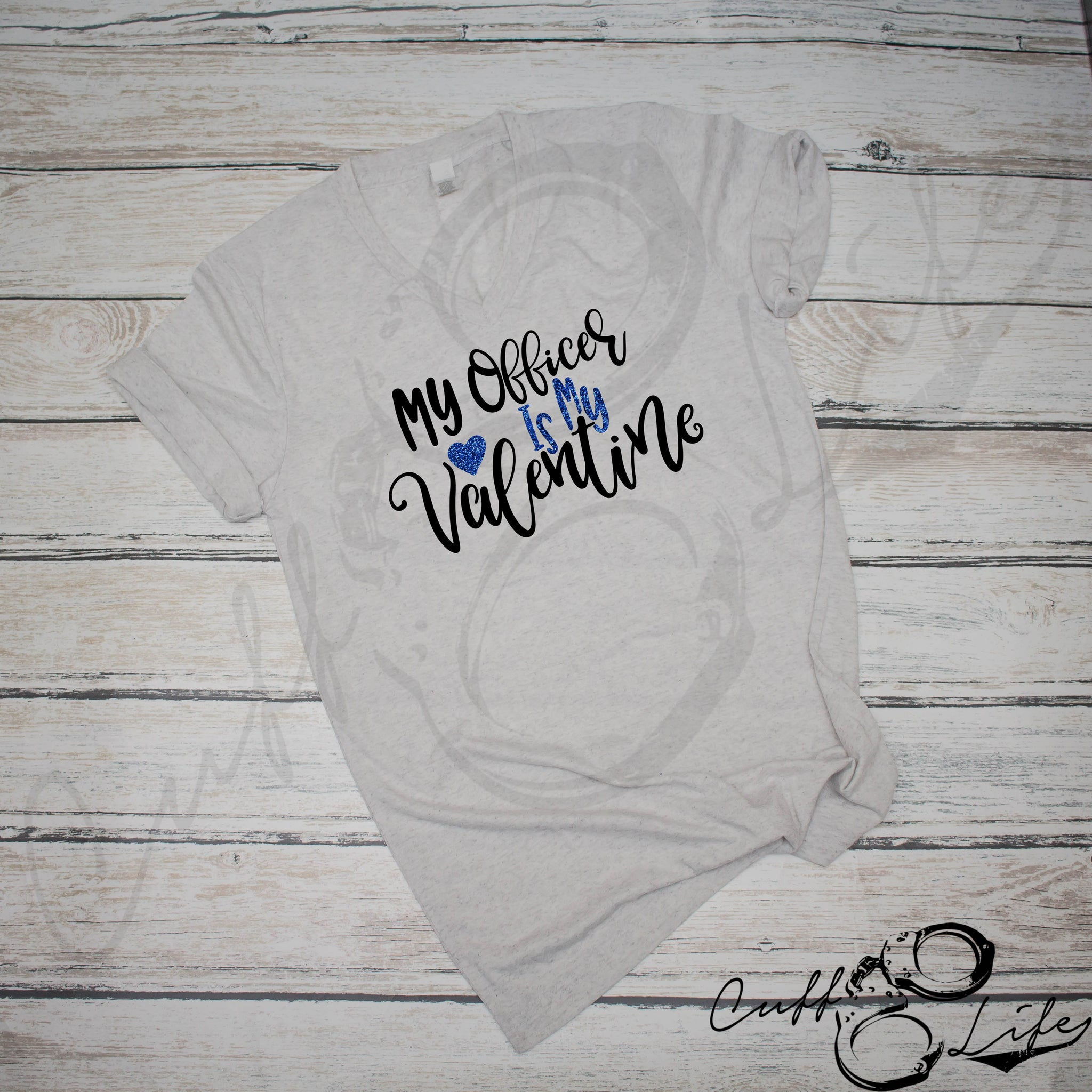 My Officer Is My Valentine - Boyfriend Fit V-Neck Tee
