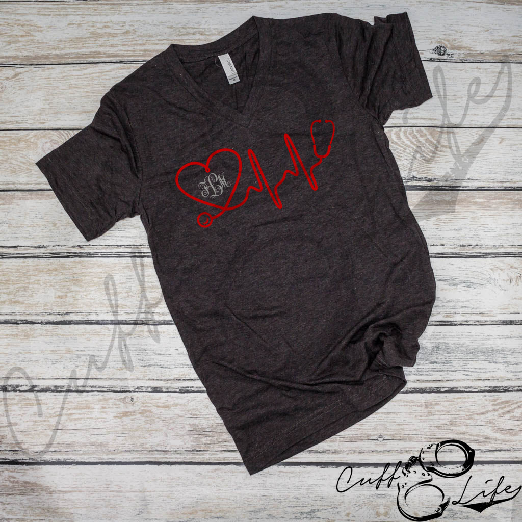 Stethoscope Heartbeat Monogram - Boyfriend Fit V-Neck Tee
