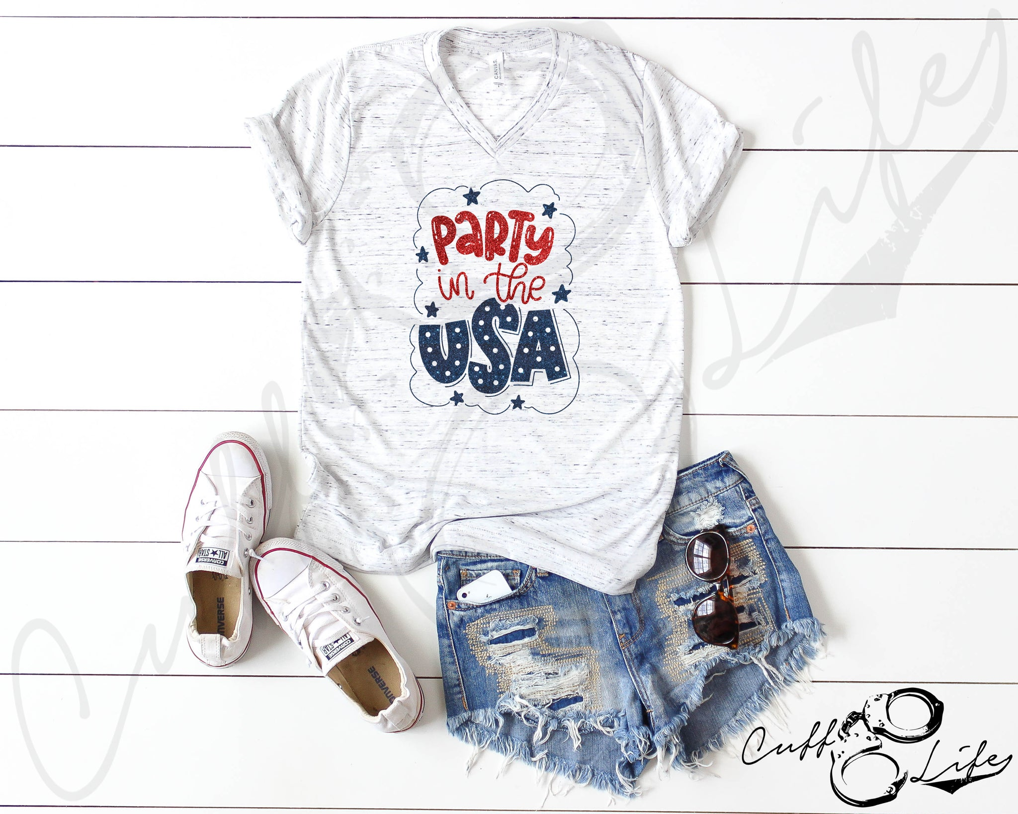 Party in the USA - Boyfriend Fit V-Neck Tee