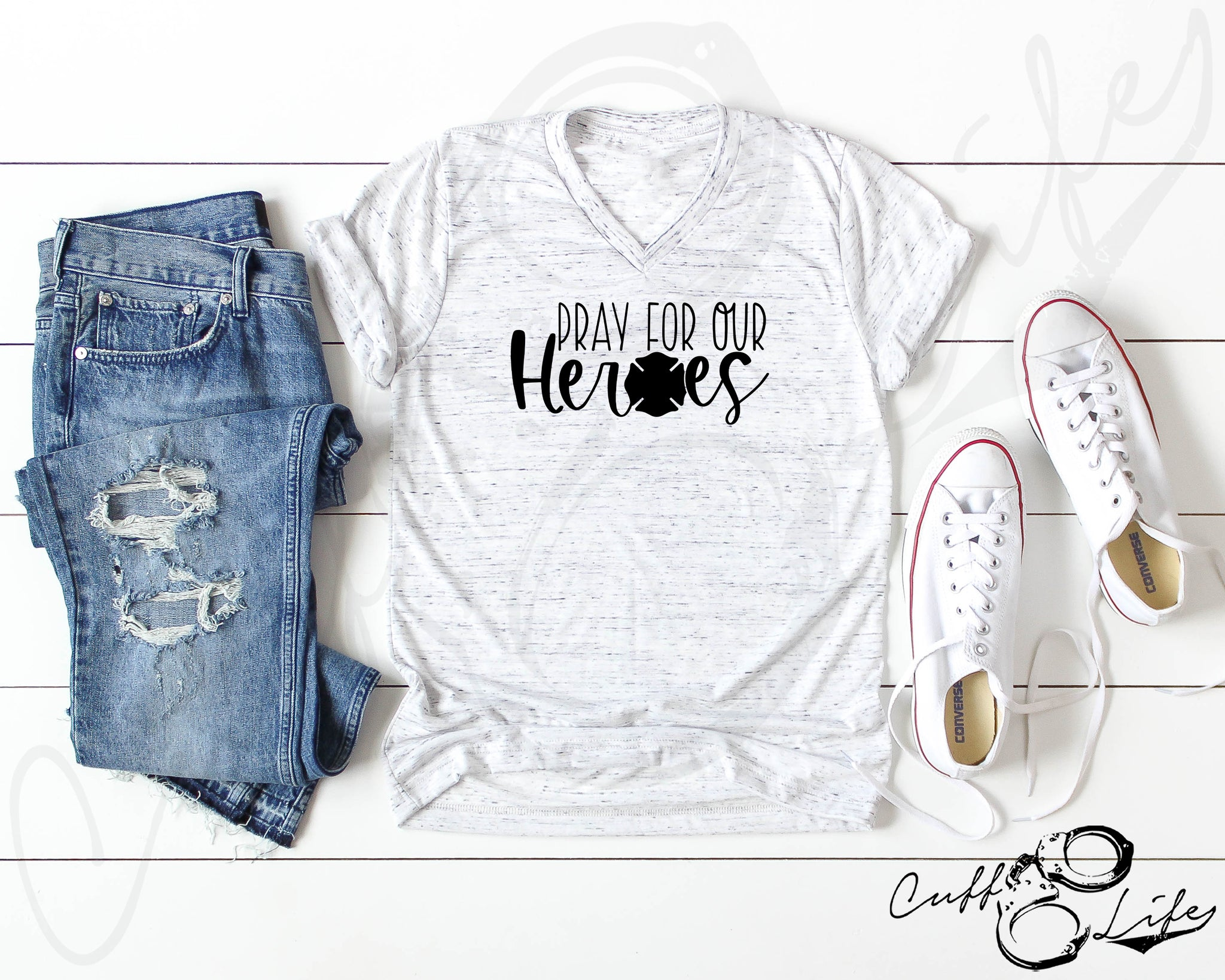 Pray For Our Heroes FIRE © - Boyfriend Fit V-Neck Tee