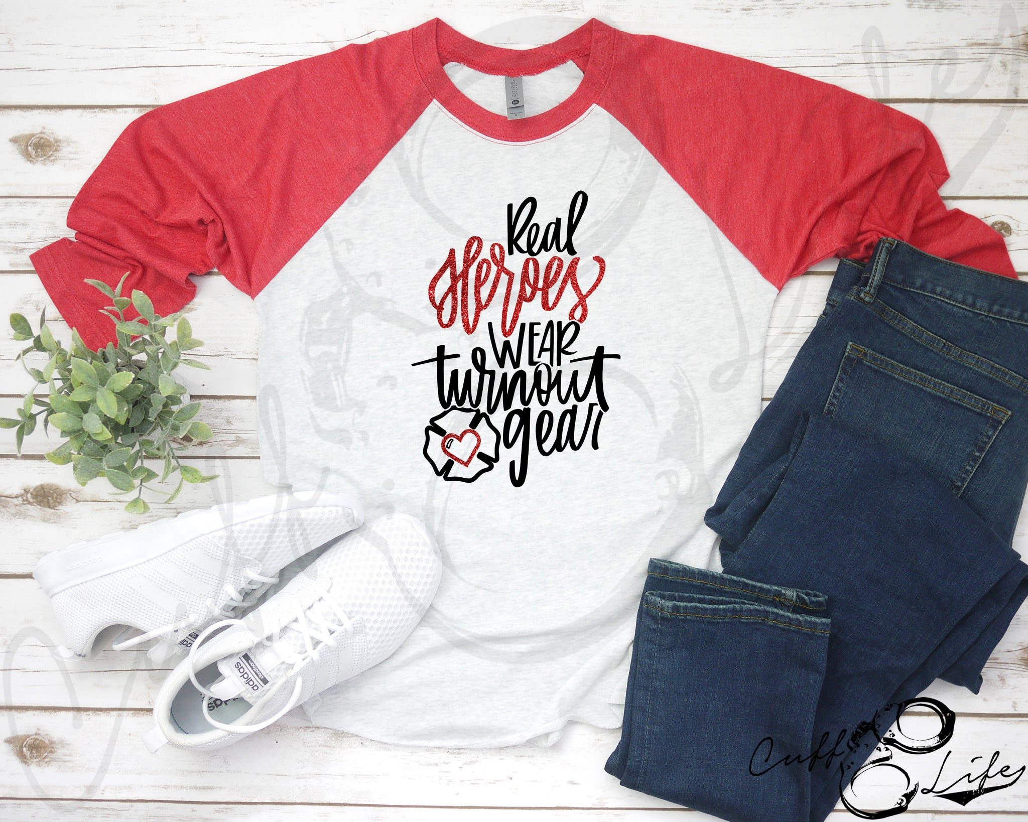 Real Heroes Wear Turnout Gear © - 3/4 Sleeve Raglan