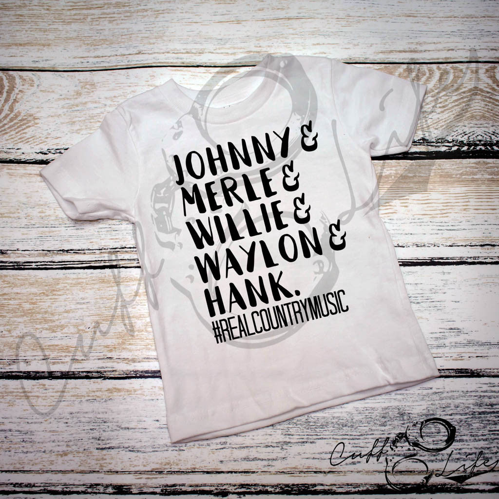Johnny Merle Willie Waylon & Hank #RealCountryMusic - Toddler/Youth T-Shirt