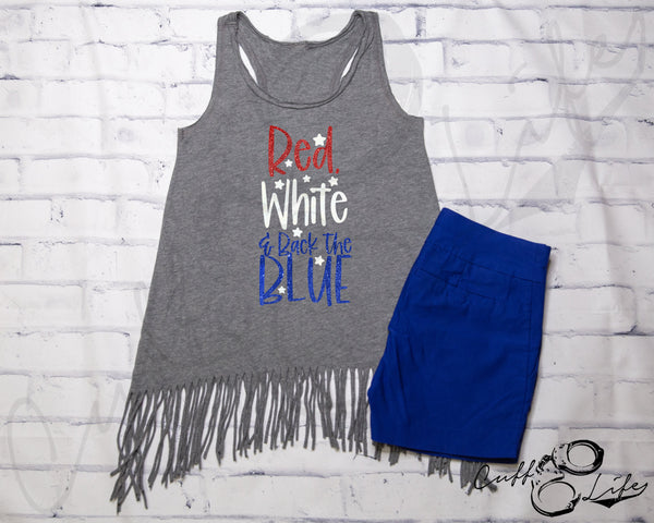 Red White & Back The Blue - Fringe Tank