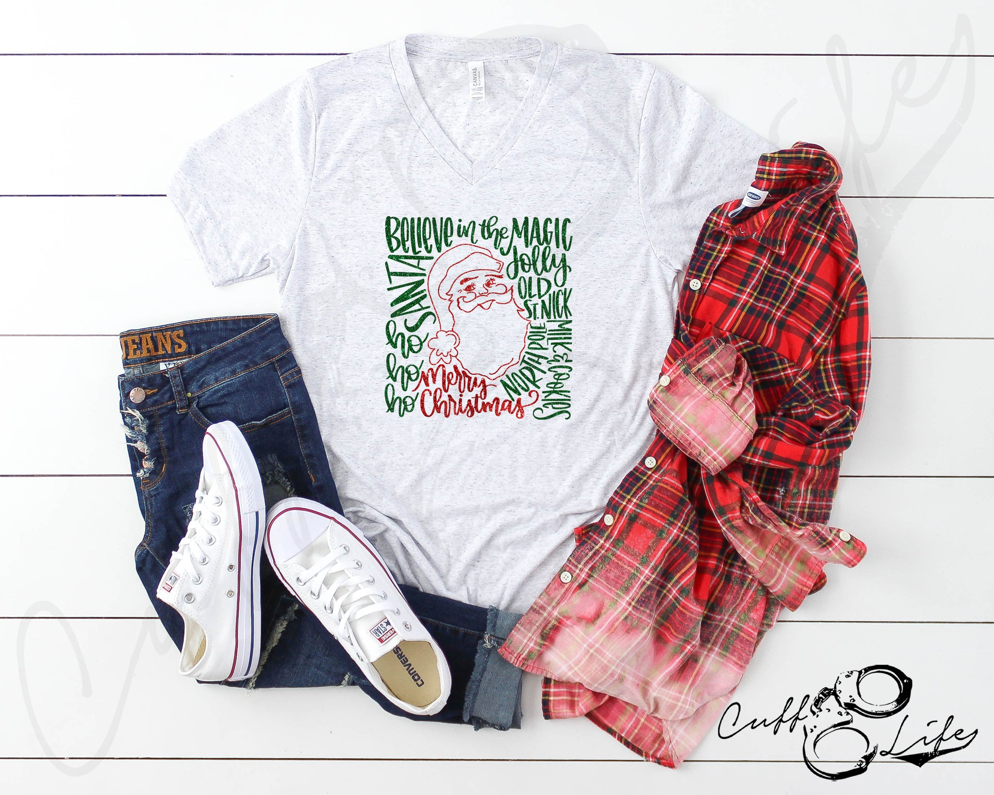 Santa Typography - Boyfriend Fit V-Neck Tee