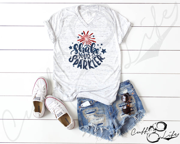 Shake Your Sparkler - Boyfriend Fit V-Neck Tee