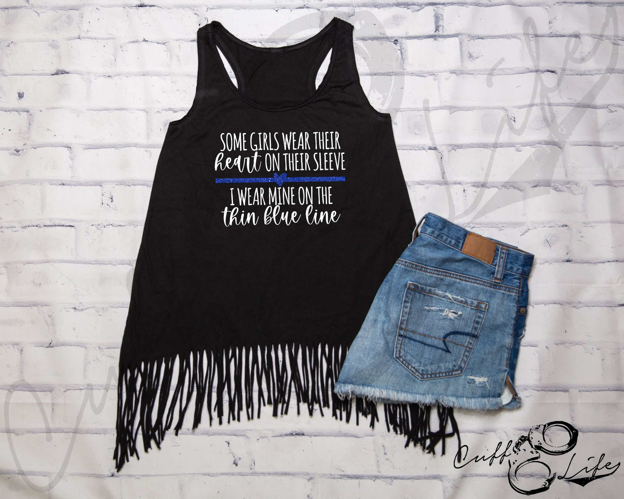 Some Girls Wear Their Heart on Their Sleeve © - Fringe Tank