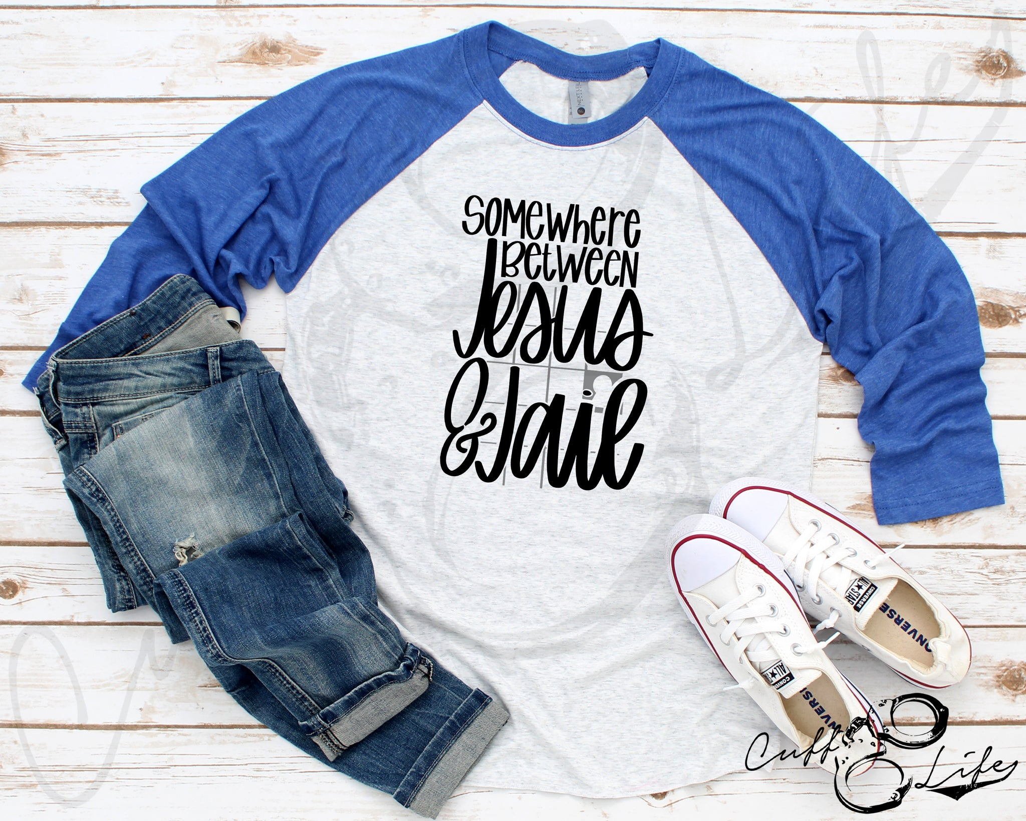Somewhere Between Jesus & Jail © - 3/4 Sleeve Raglan