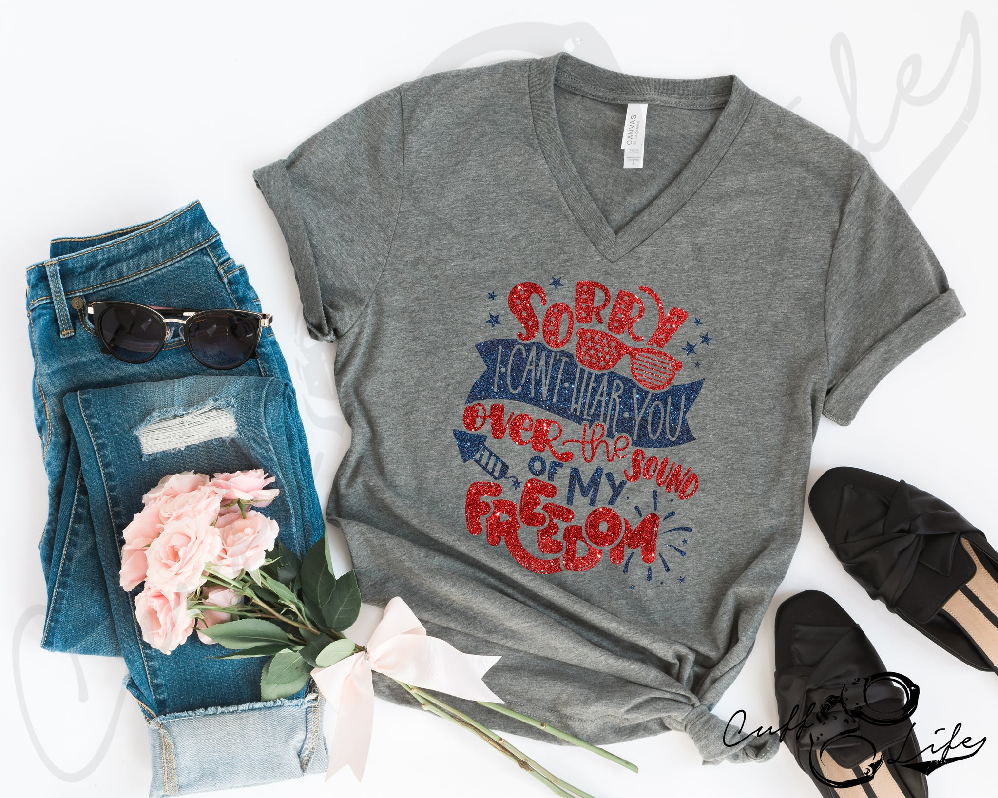 Sorry, I Can't Hear You - Boyfriend Fit V-Neck Tee