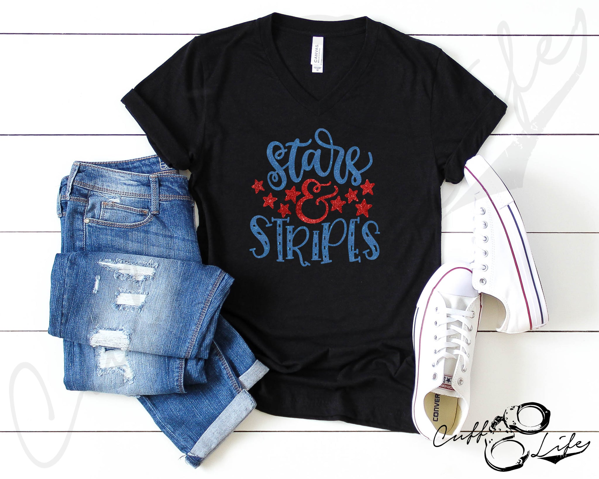 Stars & Stripes - Boyfriend Fit V-Neck Tee