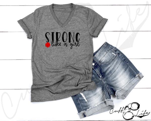 STRONG Like A Girl © - Boyfriend Fit V-Neck Tee