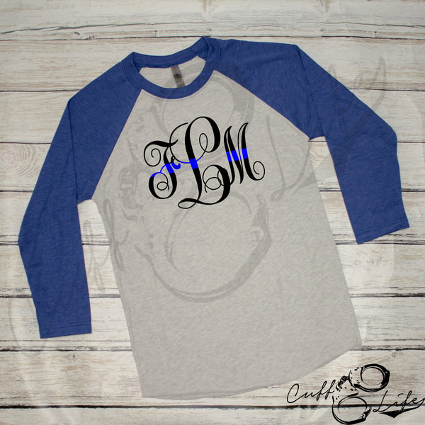 Thin Blue Line Monogram - 3/4 Sleeve Raglan