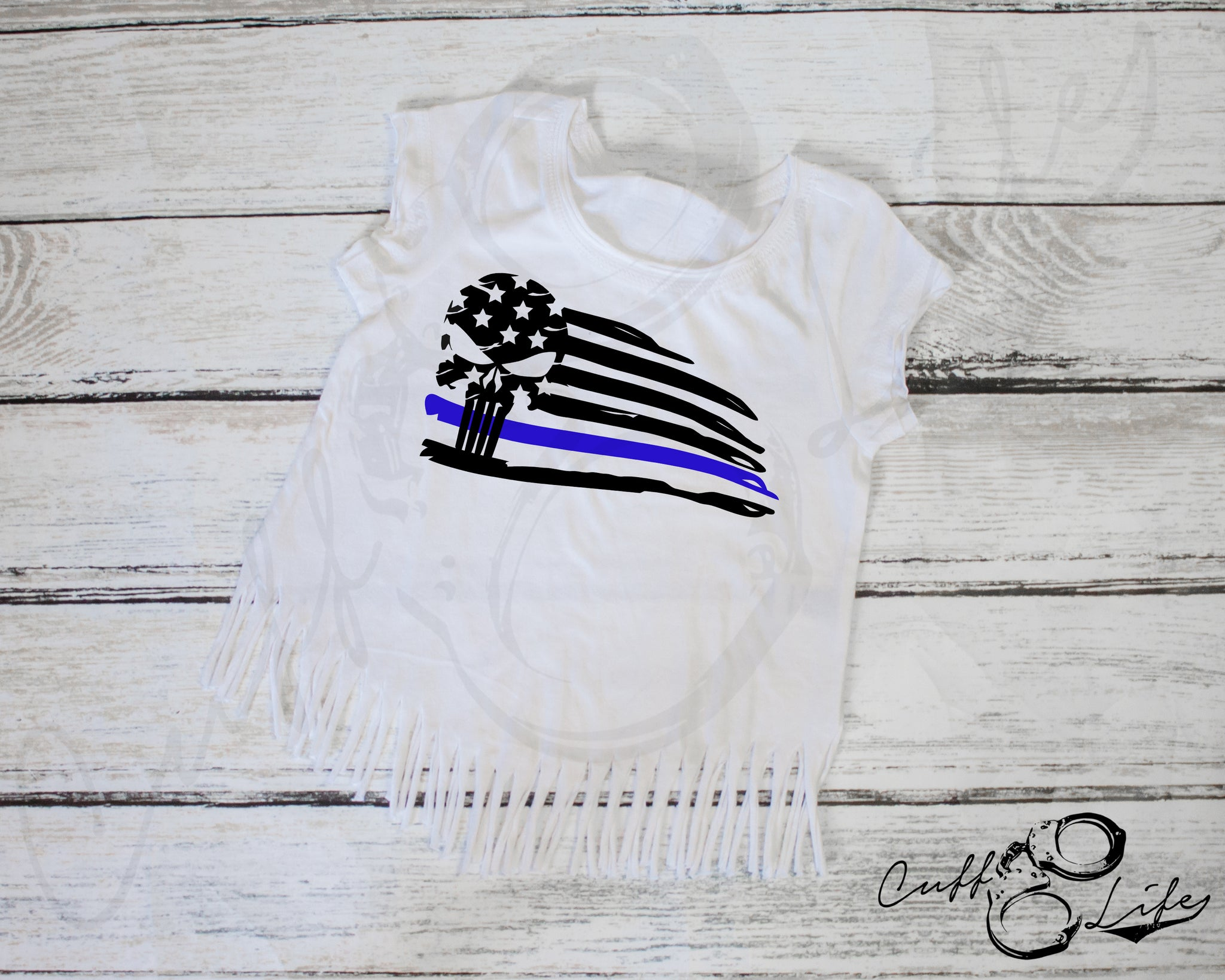 Thin Blue Line Skull Flag - Toddler/Youth T-Shirt
