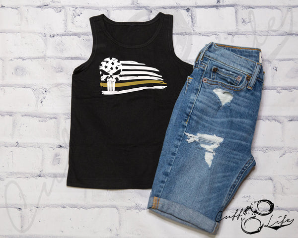 Thin Gold Line Skull Flag - Tank Top