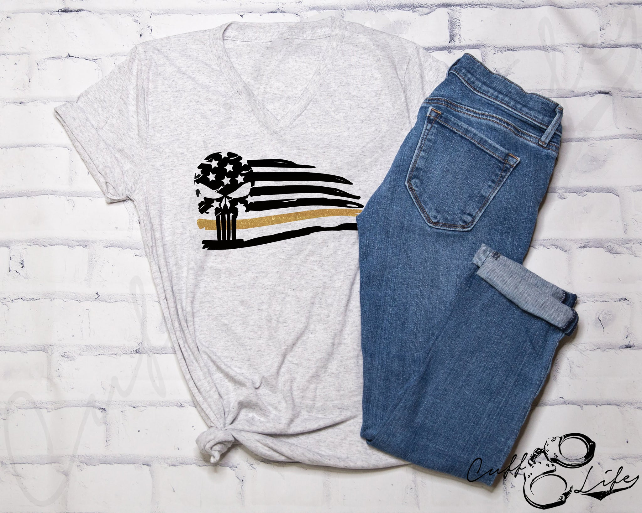 Thin Gold Line Skull Flag - Boyfriend Fit V-Neck Tee