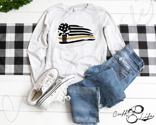 Thin Gold Line Skull Flag - Long Sleeve Tee