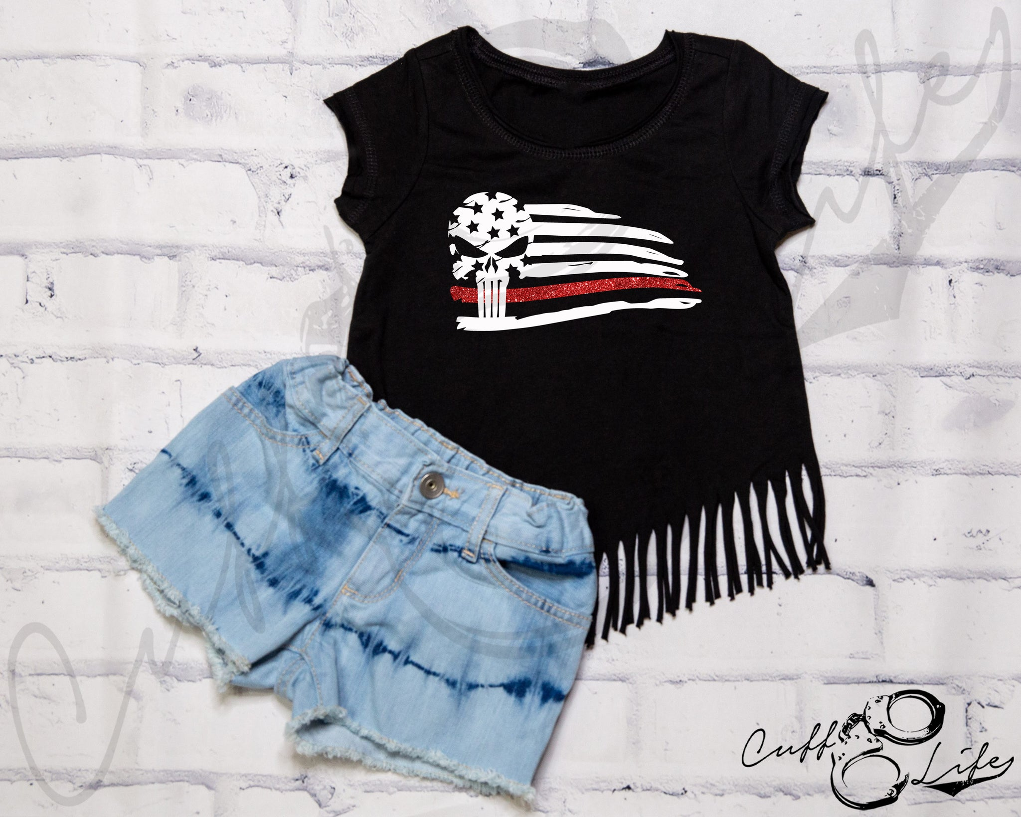 Thin Red Line Skull Flag - Fringe Tee
