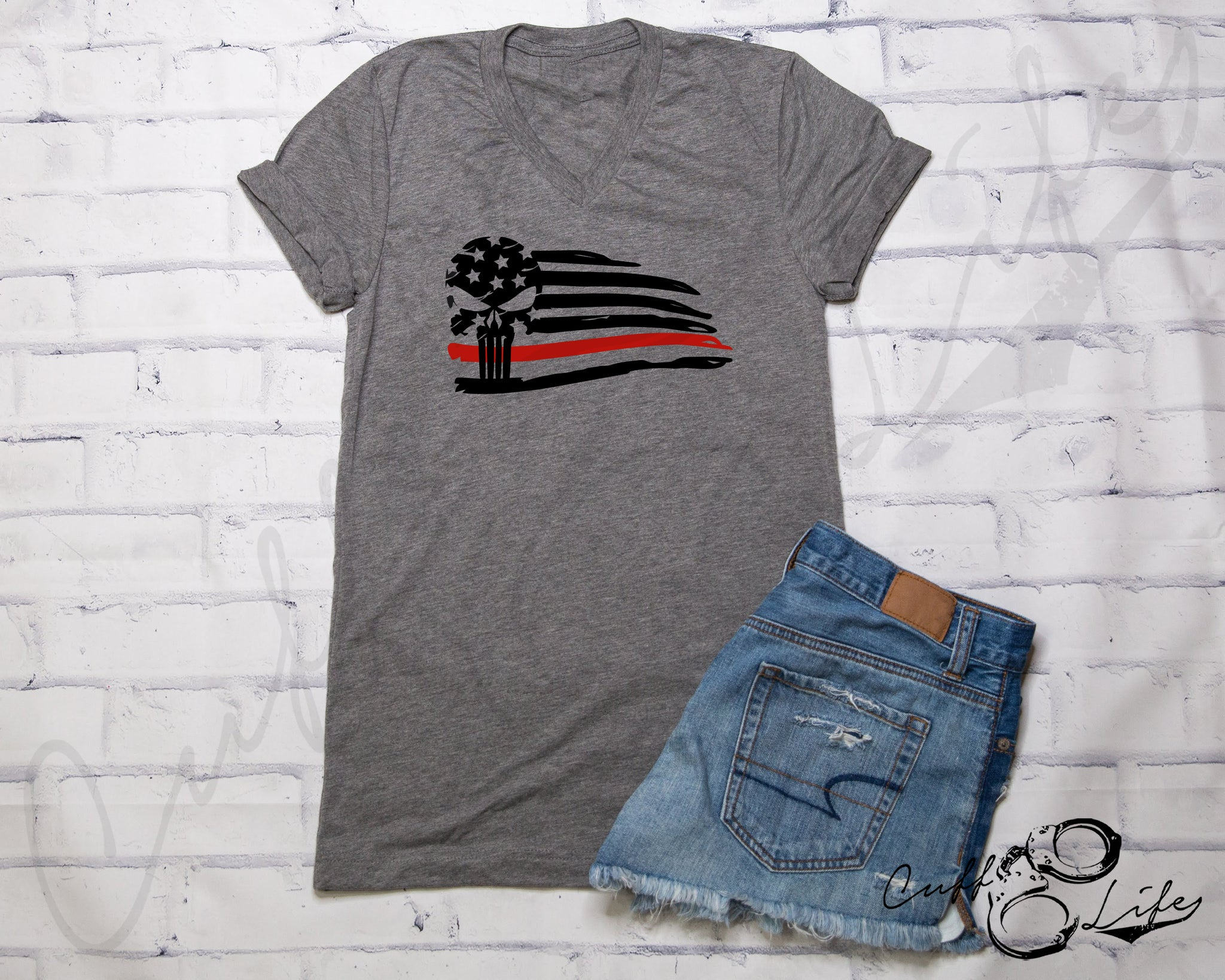 Thin Red Line Skull Flag - Boyfriend Fit V-Neck Tee