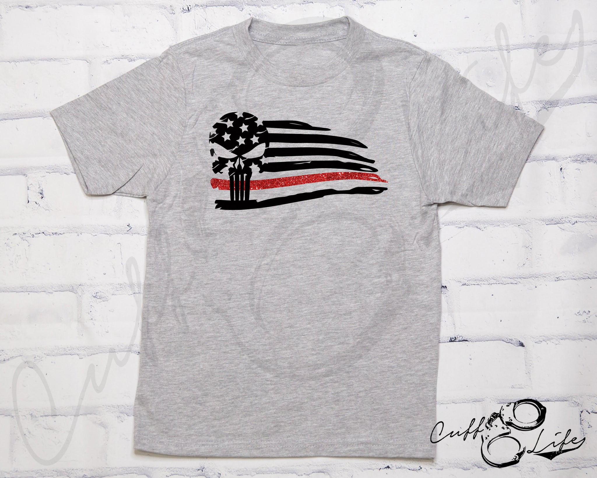 Thin Red Line Skull Flag - Toddler/Youth T-Shirt