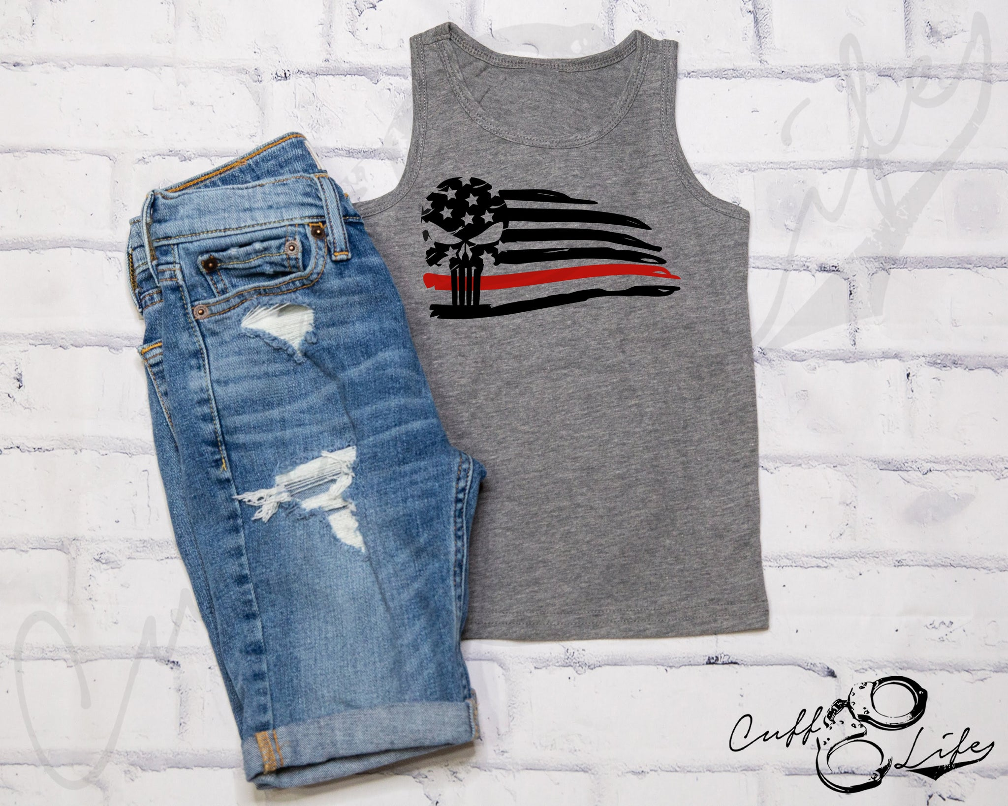 Thin Red Line Skull Flag - Tank Top