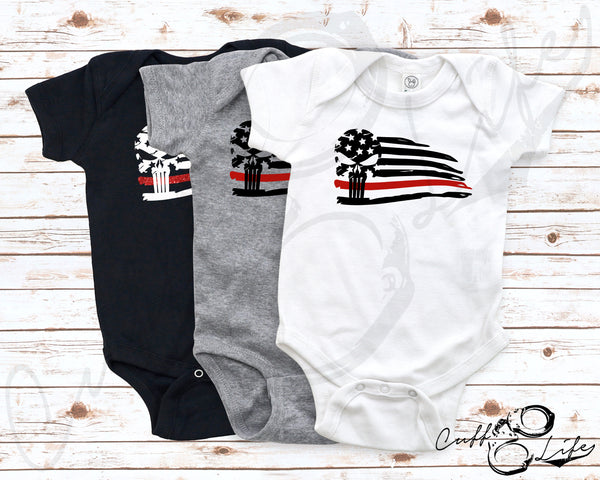 Thin Red Line Skull Flag - Infant Bodysuit