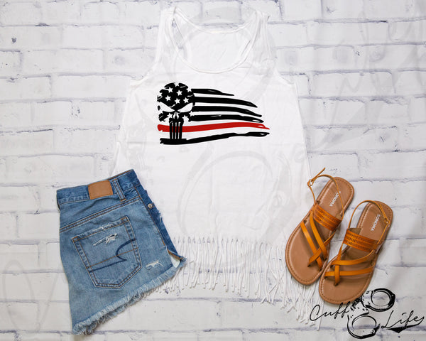 Thin Red Line Skull Flag - Fringe Tank