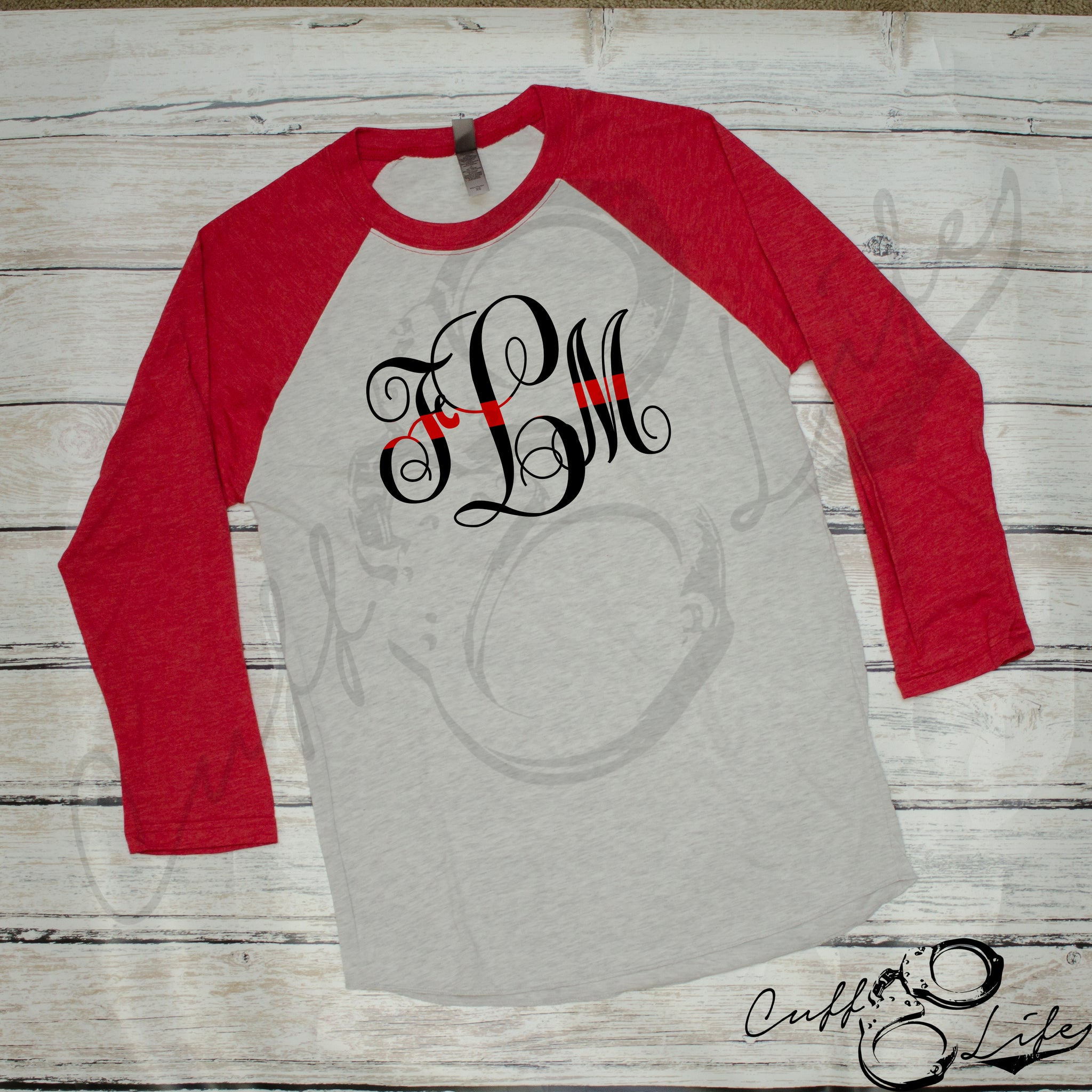 Thin Red Line Monogram - 3/4 Sleeve Raglan