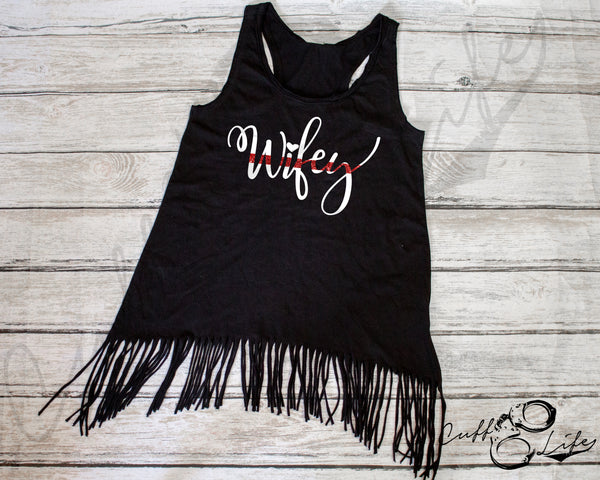 Thin Red Line Wifey - Fringe Tank