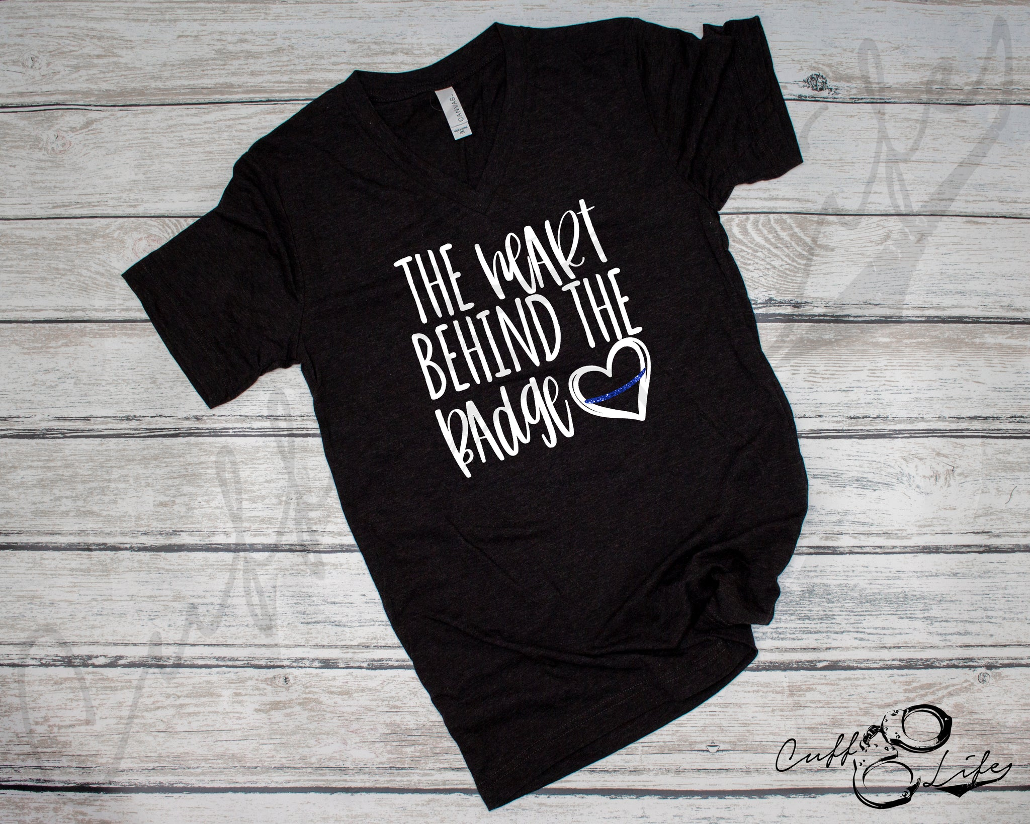 The Heart Behind the Badge - Boyfriend Fit V-Neck Tee