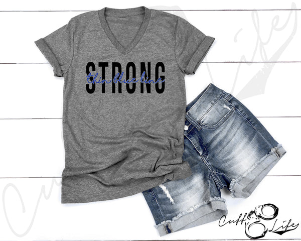 Thin Blue Line STRONG - Boyfriend Fit V-Neck Tee