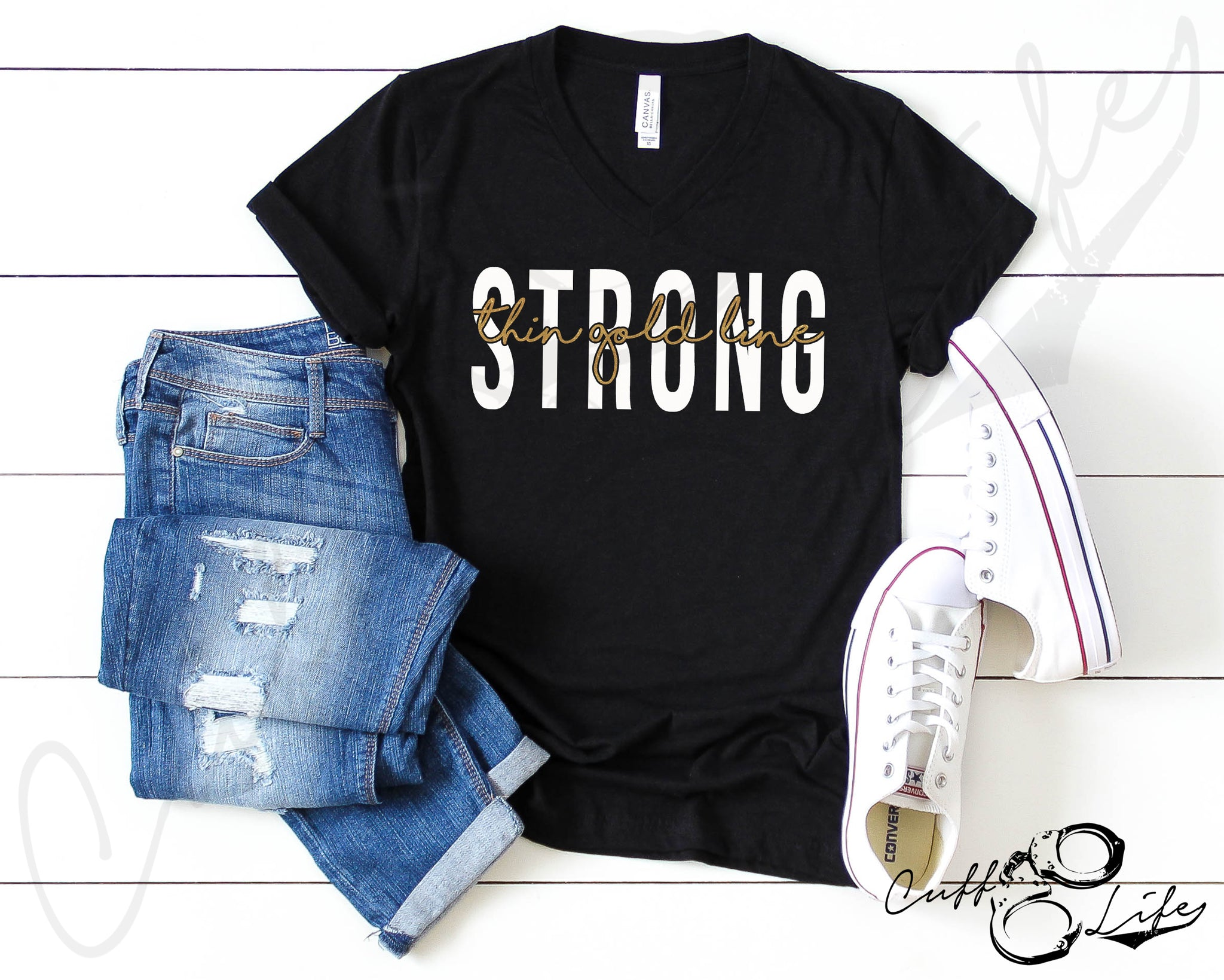 Thin Gold Line STRONG © - Boyfriend Fit V-Neck Tee