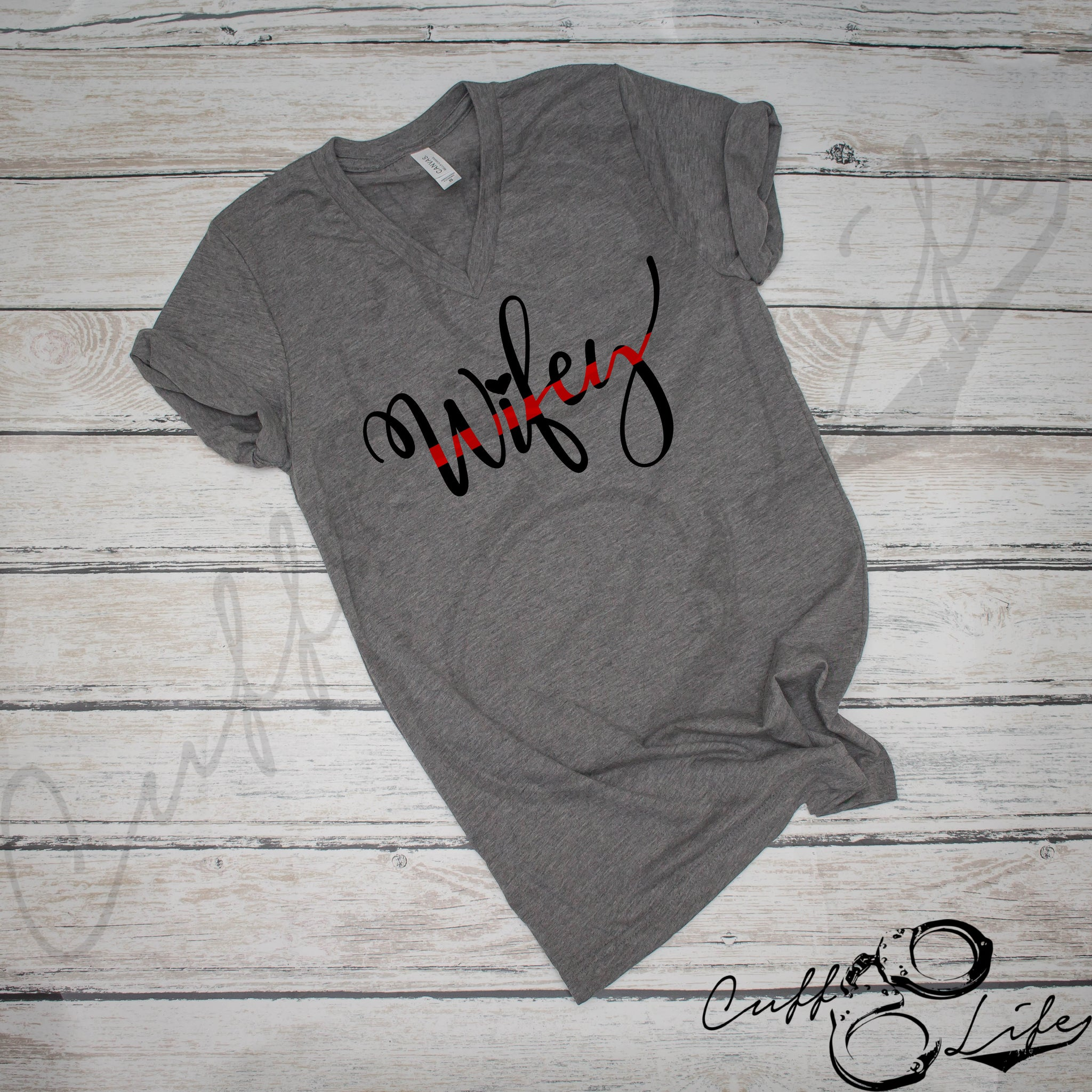 Thin Red Line Wifey - Boyfriend Fit V-Neck Tee